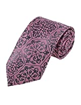 DAA7B32B Pink Grey Paisley Woven Microfiber Fashion Neck Tie Discount for Wedding Tie for Mens By Dan Smith