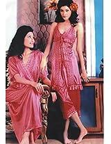 Indiatrendzs Dark Purple Silk Satin Nighty 3 pc Sets Bedroomwear -Free Size