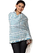 Exotic India Ivory Hindu Prayer Shawl with Printed Sri Ram Jai Ram Jai Jai Ram M - Color TurquoiseColor Free Size