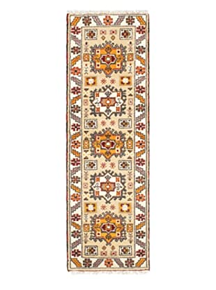 Hand-Knotted Royal Kazak Wool Rug, Cream, Khaki, 2' 1