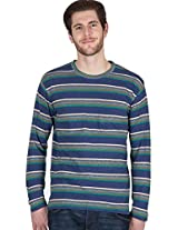 Hypernation Blue and Green Color Full Sleeves Stripped T-Shirts For Men