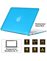 "AirPlus: AirCase - Rubberized Hard Case/ Hard Shell Cover for 11.6""Apple MacBook Air -11 (Models: A1370 and A1465), Satin Feel, Color:AQUA BLUE"