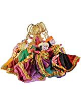 RAJKRUTI Handmade handicraft Fabric Decorative rajasthani man women designed Key chain 10 piece set (5 Cm X 7Cm, Multi-Coloured)