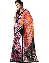 Pagli multi colour polka dotted printed georgette saree with lace sequence border.