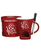 """Love You More Than Chocolate"" Fondue Pot for 2 with Forks, Gift Boxed"