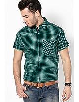 Checks Green Casual Shirt Mufti