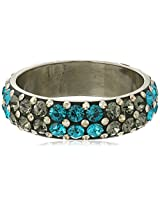 Chamak by priya kakkar Turquoise and Grey Swarovski Crystal Bangle Bracelet