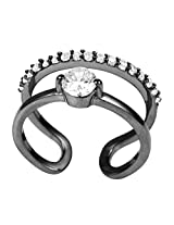 Exxotic Designer Silver Cluster With Solitaire Party Wear Free Size Ring For Women (Black)