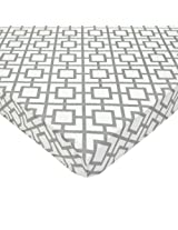 American Baby Company 100% Cotton Percale Fitted Portable/Mini Crib Sheet, Gray Lattice By American Baby Company
