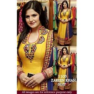 Zarine Khan Yellow Designer Anarkali Suit