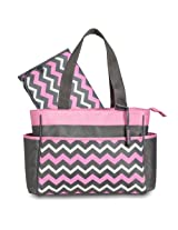 Gerber Chevron Diaper Tote Bag Pink/Grey/White