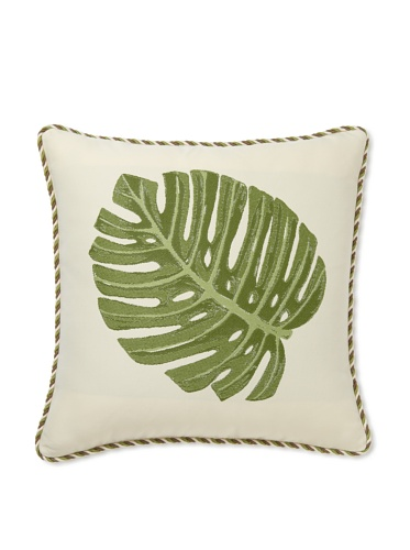 Elsa Blue Leaf with Cord Indoor/Outdoor Pillow, 20