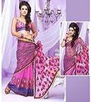 Net Pink Heavy Zari Embroidered Lehenga Style Saree - PRG3277