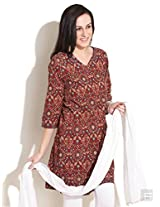 Ajrakh Printed Cotton Kurta-Red-L