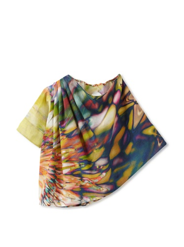 kicokids Girl's One Shoulder Two-Texture A-Line Blouse (Starburst)