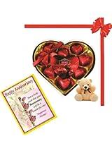 Skylofts Stylish Heart chocolate box with teddy and anniversary wish card