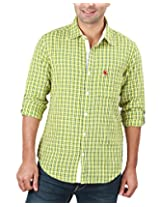 REIGN OF FASHION Men's Casual Shirt (500027, Yellow White Checks, 2X-Large)