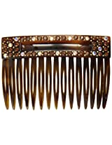Caravan Handmade Comb Decorated With A Rectangular Box And 48 Clear And Color Rhinestones Plus Studs