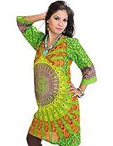 Exotic India Womens Cotton Kurta (Sto74-Xs-Vibrant-Green _Vibrant Green _X-Small)