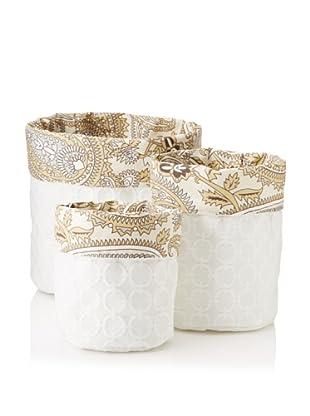 Chateau Blanc Set of 3 Gabrielle Fabric Storage Bags, White/Multi