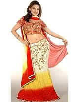 Exotic India Tri-Color Lehenga Choli with All-Over Beadwork and Sequ - Tri-Color