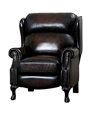 Abbyson Living Veda Hand Rubbed Top Grain Leather Pushback Recliner, Brown