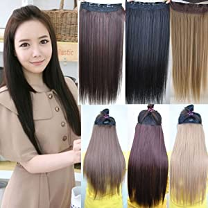 Hot Fashion Salon Beauty Supply Women Long Straight Onepiece Clip on Hair Extensions Hairpiece Weft Hair Weaving Wig 6 Colors Pp18