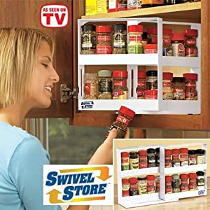 Swivel Store Deluxe Spice Rack and Cabinet Organizer Storage System Set with Stainless Steel Inserts (Total 4 Racks)