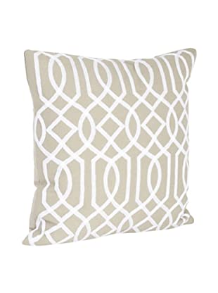 Saro Lifestyle Khaki Embroidered Design Pillow