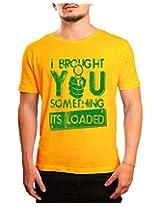 Bushirt Men's Round Neck Cotton T-Shirt (DN00098- Its Loaded_Yellow_XX-Large)