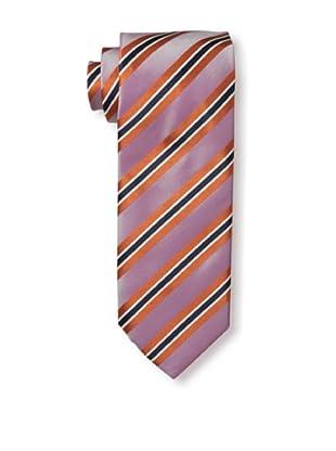 Massimo Bizzocchi Men's Stripe Tie, Pink/Orange
