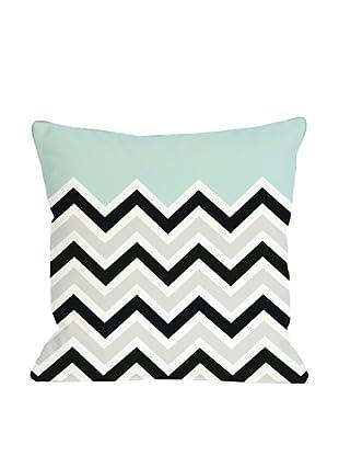 One Bella Casa Chevron/Solid 18x18 Outdoor Throw Pillow (Light Blue)