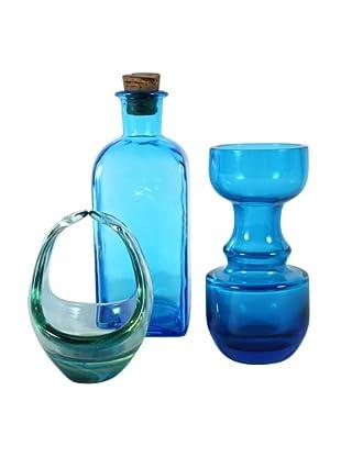 Set of 3 Mid-Century Modern Glass, Blue/Green