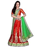 Kanheyas Women's Net Lehanga Choli (KMTSD482_Red and green_Free Size)