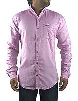 Ruff Used Men's Cotton Shirt (GS007_M, Pink, M)