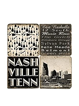 Studio Vertu Set of 4 Black & White Nashville Tumbled Marble Coasters with Stand