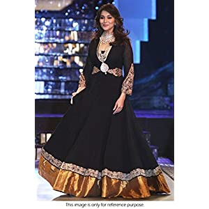 Bollywood Replica Madhuri Dixit Georgette Suit in Black Colour NC236