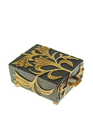 The Niger Bend Small Single-Drawer Soapstone Box with Orchid Design, Black