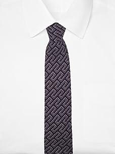 Hermès Men's Maze Illusion Tie (Black/Lavender)