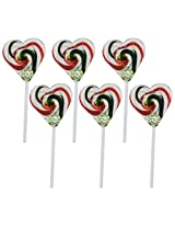 Kandee Sweet Heart Watermelon (Pack of 6 Natural Colour Candy Lollipop)