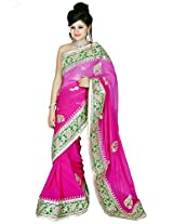 Utsav Fashion Women's Fuchsia Pink Viscose Georgette Saree with Blouse