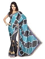 Chandra Silk Mills Half Half Blue and Grey Jacquard Wedding Party Wear Saree