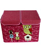 UberLyfe Pink Double Flap Kids Storage Box with Green Owl and Friends - Large