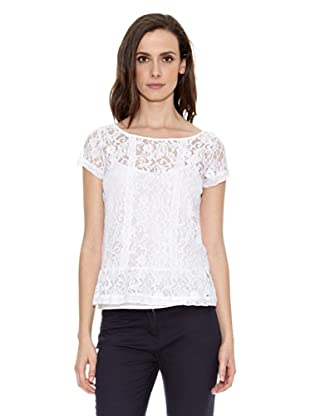 Cortefiel Camiseta Top Encaje (Blanco)