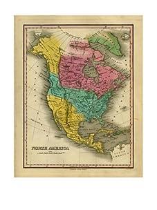 "North America Map, Pink/Aqua/Green/Yellow, 40"" x 32"""