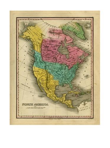 North America Map, Pink/Aqua/Green/Yellow, 40