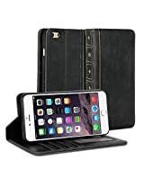 iPhone 6s Plus Case, GMYLE [Book Case] iPhone 6s Plus case Wallet Book Case Vintage for iPhone 6s Plus - Black Classic [Crazy Horse Pattern] [PU Leather] Book style Wallet Case Cover