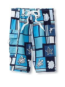 Azul Swimwear Boy's Squares & Creatures Boardshorts (Blue)