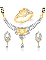 VK Jewels Dazzling Combo Ring & Mangalsutra Set for Women- COMBO1147G Size 10 [VKCOMBO1147G10]