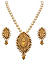JFL- Jewellery for Less Sinfully Desirable Shiva Gold Designer Temple Necklace Set.